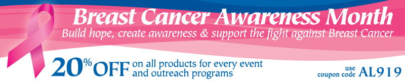 Breast Cancer Merchandise - All the event tools you need to support the fight against Breast Cancer - Breast Cancer Awareness month is October